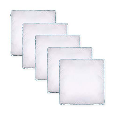 Sleeb Cojín de relleno de 80 x 80 cm, 5 unidades, con cremallera, lavable, color blanco