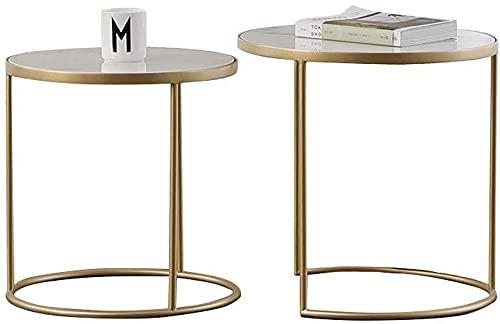 WSHFHDLC mesa de centro Mesa de centro hjbh anidada Grupo 2 final de la sala de estar mesa de café balcón de mármol elegante diseño moderno hogar y oficina pequeñas mesas de café