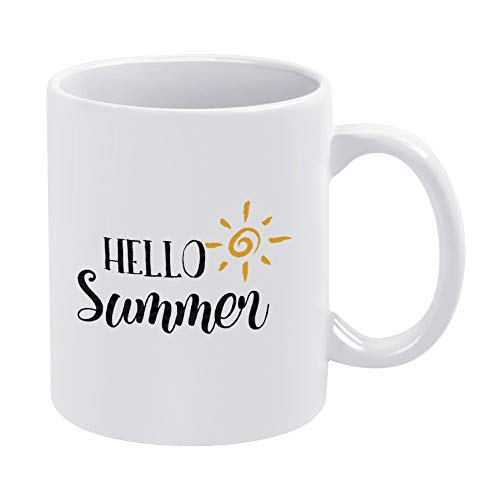 Taza de verano con texto en inglés 'Hello Summer Vector', taza de verano, taza de café, té o café, taza de té de cerámica. Ideal para regalo del día del padre, 325 ml