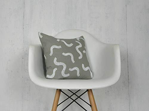 Ad4ssdu4 grijs linnen kussensloop met witte pruik print Neutraal decoratief gooien kussen natuurlijke vlas beddengoed accent 80s beddengoed accent minimalistische