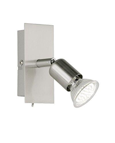 Reality Leuchten LED Spotleuchte 1-flammig mit An/Aus Schalter inklusiv 1 x GU10 3,0 W, 230 lm, 3000 K, 12 cm, nickel matt, R82941107