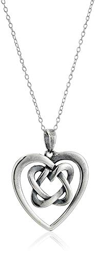 Oxidized 925 Sterling Silver Celtic Knot Heart Pendant Necklace 18' Cable Chain