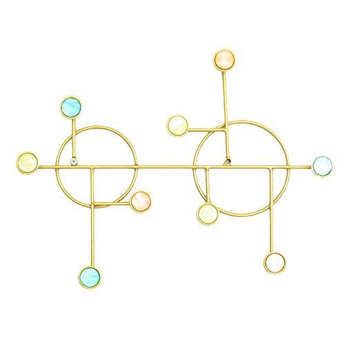 HYCZW Wandhaken,9 Haken Edelstahlwandhaken Hochleistungsaufhänger Stanzfreier Und Selbstklebender Haken Für Mäntel Hut Kleidung Handtuchhalter,Gold,42 * 32 * 5cm