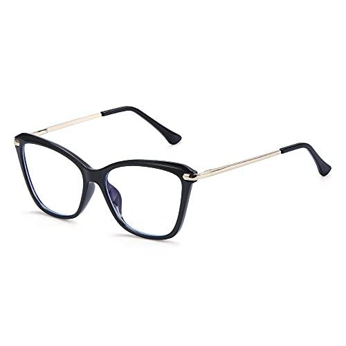 YOUQU Gafas Luz Azul,Anti Fatiga Ocular,Anti Luz Azul Protección Ocular Gafas para Computadora,Cuidado De La Visión Gafas De Lectura Nerd,Negro Brillante