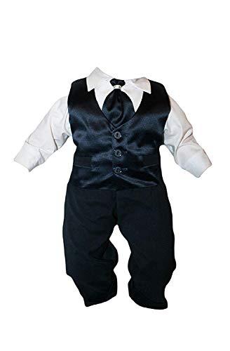 Taufanzug Baby Junge Kinder Hochzeit Anzüge Festanzug, 4tlg, Marineblau-Weiß K15 Größe 68