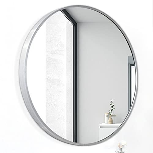 LBSI Espejo Redondo de Baño, con Marco Negro/Dorado, Espejo de Pared, Baño y Dormitorio Ø 40/50/60/70 cm