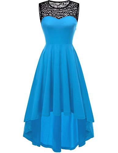 YOYAKER Damen Vintage Rockabilly Kleid Rundhals Ärmellos Cocktailkleid Elegant Spitzenkleid Vokuhila Festliche Party Abendkleider Blue 3XL