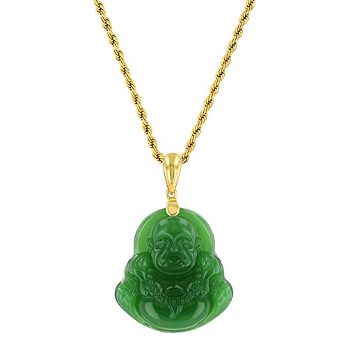 Real Laughing Buddha Green Jade Pendant Necklace Rolo Rope Chain Genuine Certified Grade A Jadeite Jade Hand Crafted, Jade Neckalce, 14k Gold over Laughing Jade Buddha necklace, Jade Medallion 22' Rope Necklace (Green Buddha, 22)