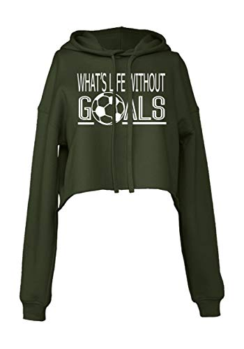 What's Life Without Goals Cropped Hoodie for Athletic Teen Girl (Black, Large)