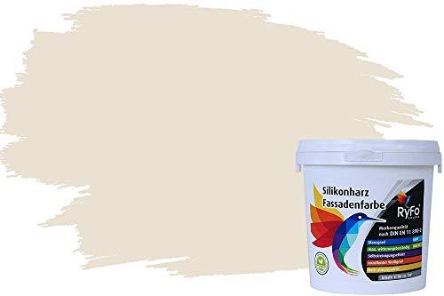 RyFo Colors Silikonharz Fassadenfarbe Lotuseffekt Trend Weißtöne Cremé 1l - bunte Fassadenfarbe, weitere Weiß Farbtöne und Größen erhältlich, Deckkraft Klasse 1