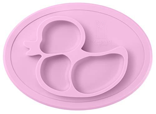 BPA-freier und rutschfester Kinderteller 27x20x3cm – Sicher und geprüfter Esslernteller – Designed in Germany – Perfekt für Baby Led Weaning – Passt in Spülmaschine und Mikrowelle YAMBINO® (Rosa)