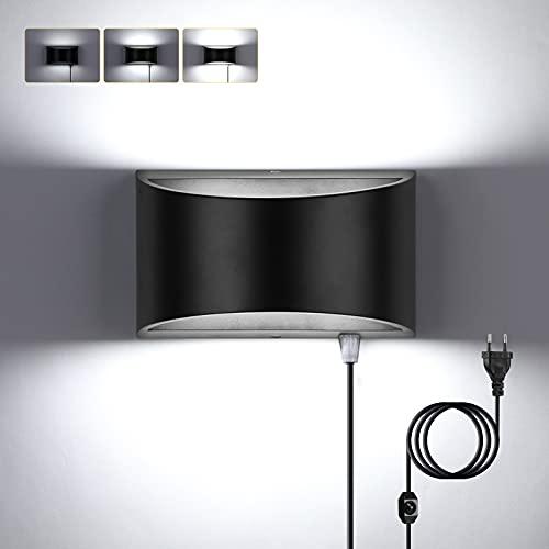 Glighone Apliques de pared Regulable 12W Negro, Blanco Frio