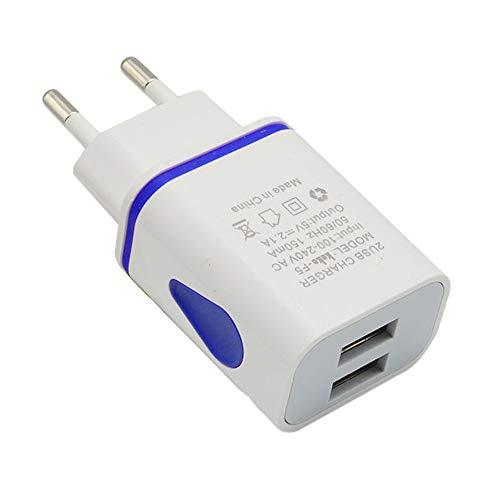 Vimoli Cargador Doméstico con 2 Puertos EU Enchufe Adaptador Multi-USB de 5V/2A Fácil de Usar para iPhone XS, XS MAX, XR, Samsung Note9, S9, S9+ y Otros (Azul)