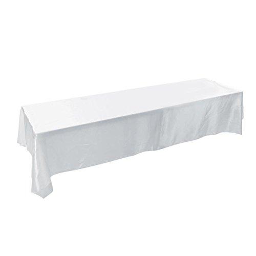 Haofy 145x320cm Rechteck Tischdecke, Fleck resistente Tischdecke aus waschbarem Polyester ideal für Buffet-Tisch, Partys, Abendessen, Hochzeit und vieles mehr(Weiß)