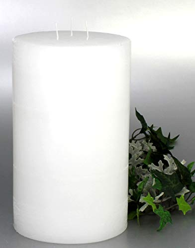 Kerzen Junglas 3 Docht Rustic-Kerze mit Struktur, Farbe: Weiß- Höhe: 20 x 12 cm Ø. Eine schöne Rustik-Kerze für Ihr Zuhause. 3 Wick Pillar Candles. (4035)