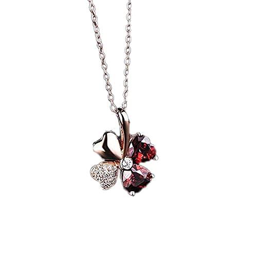 Collar de plata Colgante Collar rojo de granate coreano con colgante de trébol de la suerte Día de San Valentín