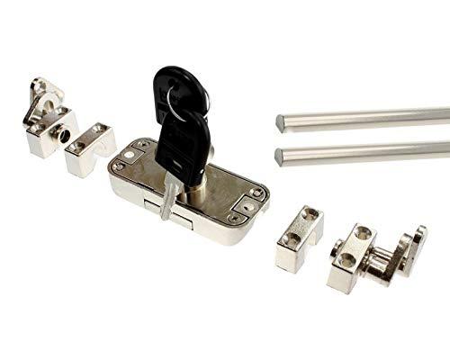 Drehstangenschloss Schrankschloss Möbelschloss mit Drehstangen, codiert, 2 Schlüssel, Stangen 2x 1m oder 2x 1,2 m, Generalschlüssel einzeln, Komplettset (Drehstangenschloss + 2x 1m Stange)