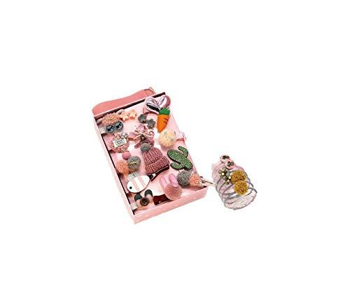 Daesar 24PCS Horquillas Pelo Niña Pinzas Niña Gomas Pelo Niña Bebe Pinza de Pelo Niña con Tela Accesorios para el Pelo Niñas Rosa Oscuro
