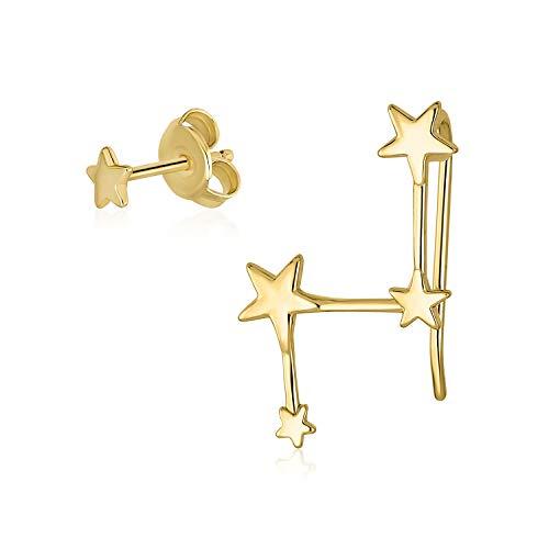 Estrella celestial Stud Constellation ear Climber Crawler Pendientes para mujeres para adolescentes 14K oro plateado de ley
