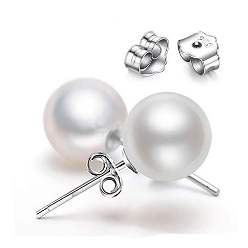 AllRing - Pendientes elegantes de plata de ley 925 con perlas para mujer, accesorios de joyería de moda 10 mm
