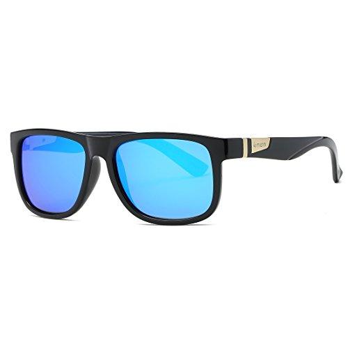 kimorn Polarizado Gafas De Sol Hombres Forma Cuadrada Retro Unisexo Anteojos K0585 (Negro brillante&Azul)