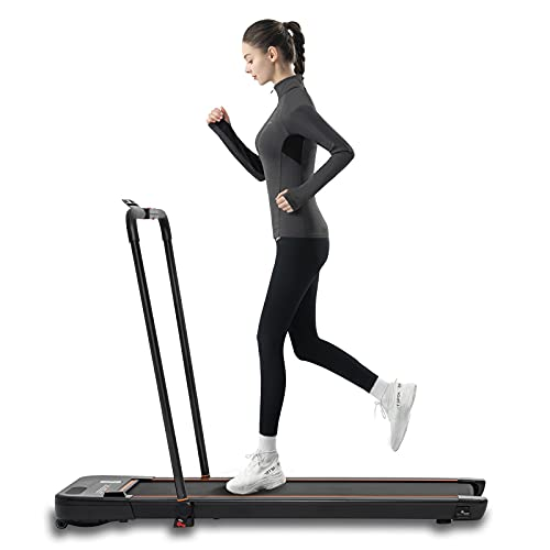 LSRZSPORT 2 in 1 Foldable Treadmill for Home, Under Desk Treadmill with Speaker LED Display and Remote Control Walking Jogging Running Machine, Installation-Free