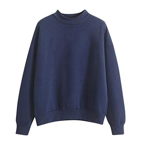 KPILP Damen Herbst Winter Langarmshirt Pullover Tops Sweater Einfarbig Rundhals...