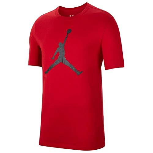 NIKE Jumpman Fill SS Crew Camiseta, Rojo y Negro, L para Hombre
