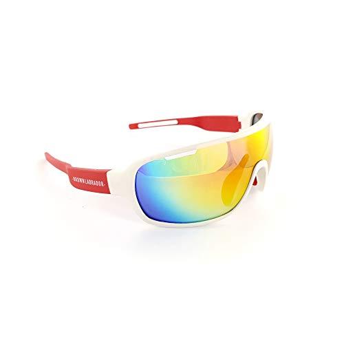 Brown Labrador Gafas Ciclismo polarizadas + REVO, 5 Lentes Intercambiables UV 400. Gafas Deportivas, Running Trail Running, BTT, Triatlon, Hombre y Mujer