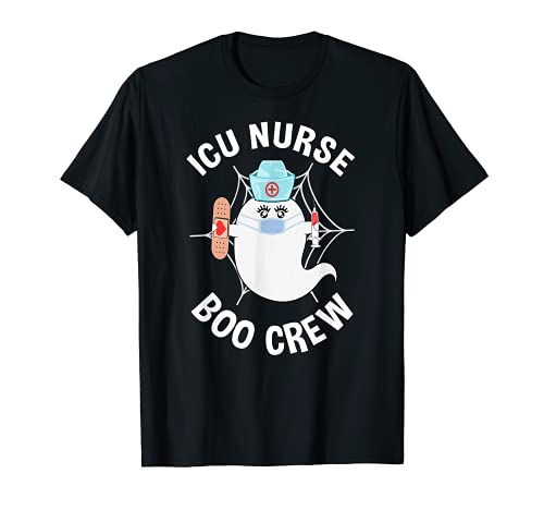 ICU Nurse Boo Crew Fantasma Divertido Disfraz de Enfermera Halloween Camiseta