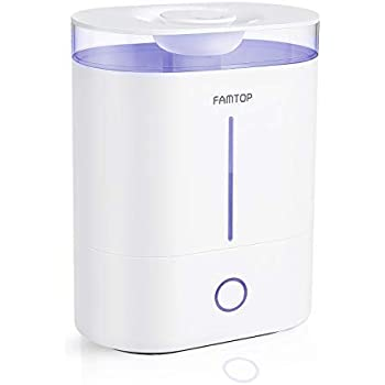 FAMTOP Ultrasonic Cool Mist Humidifiers 4L,【UPGRADED】Top Fill Air Humidifier Diffuser with Light, Whisper Quiet & 360°Nozzle, Up to 40 Hours, Auto