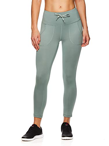 Reebok Women's Printed Capri Leggings with Mid-Rise Waist Cropped Performance Compression Tights - Momentum Chinois Green, Medium