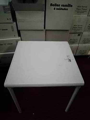 ECOSPAIN Tisch weiß Steiner Modell Rio 70 cm für Terrasse und Garten