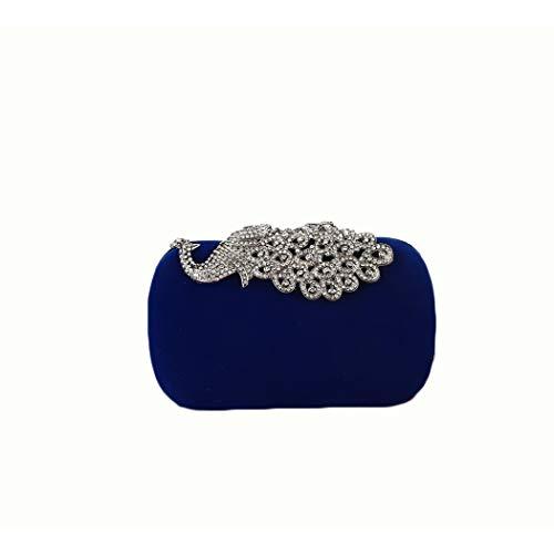 Ys-s Personalización de la Tienda Bolsos de Diamantes de Pavo Real para Mujer Bolsa de Fiesta de vellón clásico Hecho a Mano (Color : Blue, Size : 17 * 5 * 10)