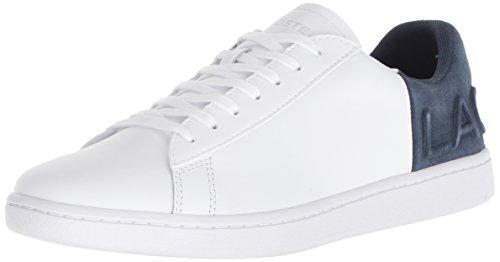 Lacoste Women's Carnaby EVO Sneaker, white navy leather, 8 Medium US