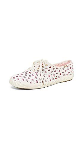 Keds Women's x Kate Spade New York Champion Lips Sneakers, White, 8.5 Medium US