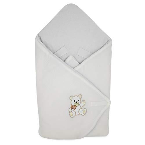 BlueberryShop Couverture d'emmaillotage polaire, Pratique dans la voiture, Sac de couchage pour nouveau-né, Baby Shower, 78 x 78 cm, Blanc