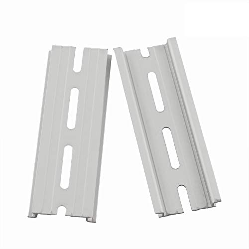 """PZRT 2-Pack Aluminum 1.1mm Thickness Slotted DIN Rail,100mm 3.9"""" Length 35mm Standard Width, for Single Phase Switch Installing Fixed Solid State Relay"""
