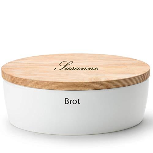 Continenta Brottopf MIT Gravur (z.B. Namen), oval mit Holzdeckel 36 x 23 x 13,5 cm - Aufbewahrungsdose für Brot, Brötchen, Knäckebrot