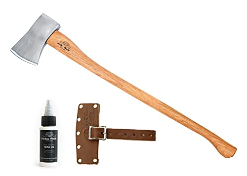1844 Helko Werk Germany Classic Expedition - 4.5lb Felling Axe - Hand Forged Axe with Leather Axe Sheath Hickory Wood Handle for Cutting Splitting Felling 10497