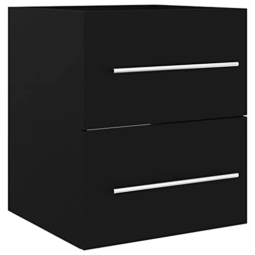 vidaXL Armario para Lavabo Lavamanos Inodoro Aseo Lavadero Muebles Mobiliario Almacenamiento Estante Robusto Estable Aglomerado Negro 41x38,5x48 cm