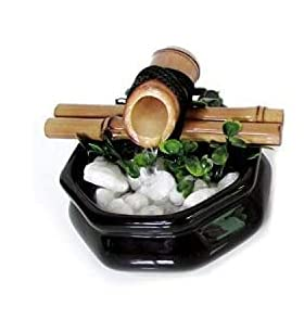 Fonte de Água Baguá Feng Shui em Cerâmica e Bambu (13cm) Preta