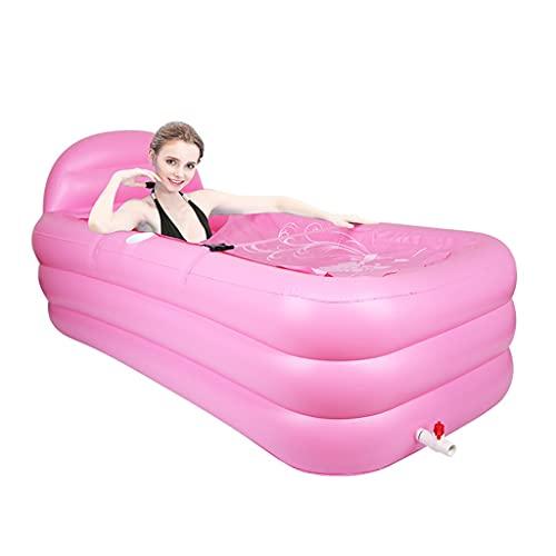 Bañera inflable plegable engrosada, grande, inflable, para piscina, baño, barril de baño para adultos (color: rosa, tamaño: 160 x 90 x 50 cm)