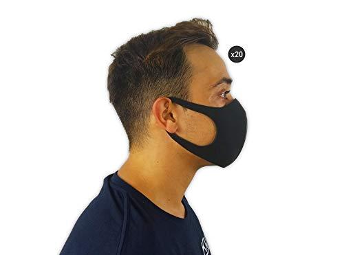 KMINA - Mascarillas Reutilizables Económicas (Pack x20 uds.), Mascarillas Negras, Mascarillas Lavables, Mascarilla Negra de Gomaespuma, Higiénicas, Protección Facial, Material Gomaespuma