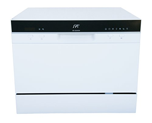 SPT SD-2224DW Compact Countertop Dishwasher with Delay Start - Portable Dishwasher with Stainless Steel Interior and 6 Place Settings Rack Silverware Basket for Apartment Office And Home Kitchen, White