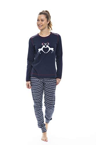Rebelle Damen Schlafanzug-Set mit nordischem Rentier-Design, Baumwolle, Dunkelblau 36-48 Gr. 34, dunkelblau
