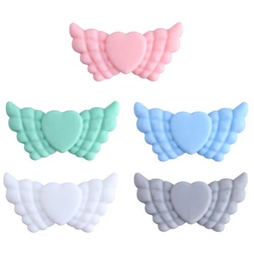 Kisangel 5 Unidades de Cuentas de Silicona con Forma de Alas Cuentas de Dentición de Silicona Creativas Juguetes de Dentición para Bebés Recién Nacidos Al Aire Libre