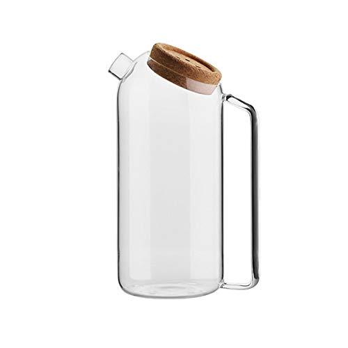 Jarra de Agua Jarra de Vidrio con Cubierta de Corcho Tetera de Vidrio de Alta Temperatura de Alta Capacidad para Jugo, té Helado, Bebidas de Bricolaje Tetera para té Helado (Capacity : 1.8L)