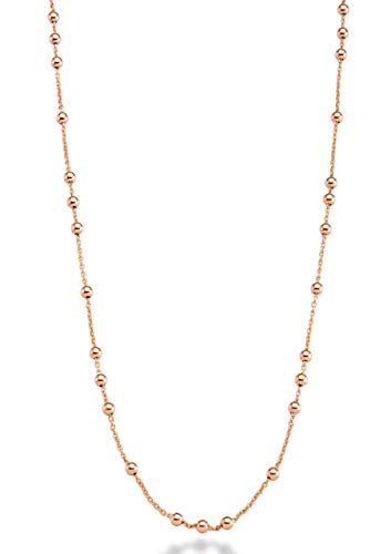 Miabella 18K Yellow or Rose Gold Plated Italian Beaded Ball Rosary Long Wrap Layering Station Chain Necklace for Women, 60' (rose-gold-plated-bronze)