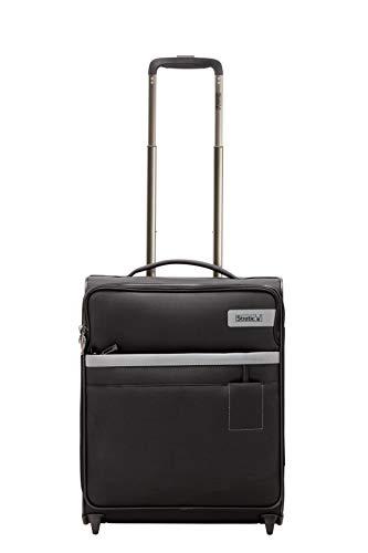 STRATIC Light Koffer weichschale Trolley Rollkoffer Reisekoffer Handgepäck TSA-Zahlenschloss, erweiterbar, extra leicht, inkl. Einkaufsbeutel, Größe S, Black